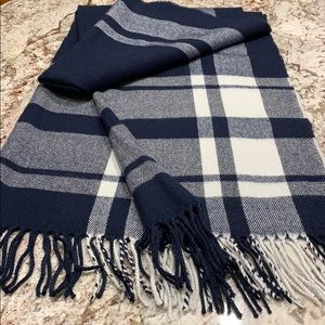 J. Crew navy plaid scarf